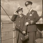 Lt F R Johnson DSC DSM RNVR with his mother at the Forth Railway Bridge