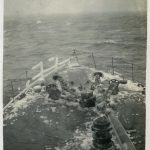 Iced bows of HMS Boadicea during PQ15