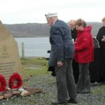 Reay at the Rubha nan Sassan memorial at Cove