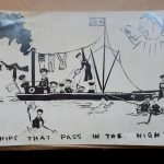 A cartoon depicting Jack and some of his fellow crew members. Jack is hanging off the back of the ship
