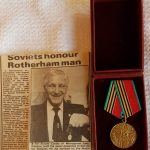 Mr Cooley receiving a commemorative medal for the 40th Anniversary of the Allied Victory over Germany