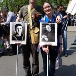Jimmy's placard at the Victory Day March in Moscow on 9th May 2019