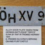 An original doorplate from the Battleship Tirpitz
