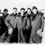 Bob Cowan (4th from the right) with shipmates