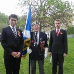 David carrying the standard at The Imperial War Museum, with two Russian lads, in May 2014