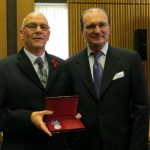 My husband Allan Roberts (Evan's son) holding the Ushakov medal presented by Russian Consul General Andrey Pritsepov in Aberdeen on 8th November 2014.