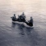 Four German airmen whose plane had been shot down, picked up by HMS Ledbury
