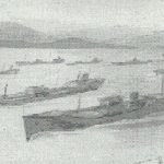 A drawing of a convoy viewed from HMS Volunteer by Tug Wilson