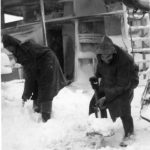 Clearing the deck on HMS Paynter 1942