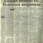Robert Ramsay receives Soviet medal, newspaper article