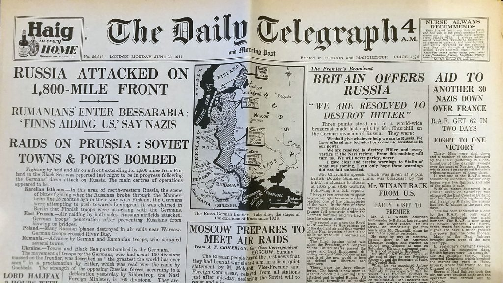 The Daily Telegraph and Morning Post, June 23rd 1941