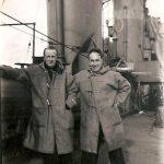 Wearing deck coats on HMS Anson