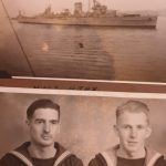 With unknown sailor and HMS Ajax