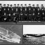 1944: Fleet Air Arm 813 Squadron on HMS Campania.John Boothoyd is seated cross-legged on the ground in the front row, 4th from left