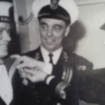 Frank receiving the Royal Navy Long Service Medal (1953)